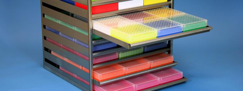Online Shop / Système de commande, Cryoboîtes en Carton, Cryoboites en plastique, Congélateur coffre étagère, Cryo horizontales racks