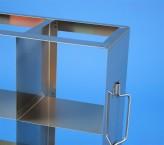 CellBox Maxi  Schrankgestell 3x3 Fächer für 9 Kryoboxen bis 148x148x128 mm Klappgriff, offene Bauform
