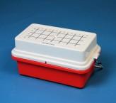 Isotherm Mini Cooler 0°C für 32 Röhrchen von 0,5 ml bis 2,0 ml, Deckel mit Gel rot